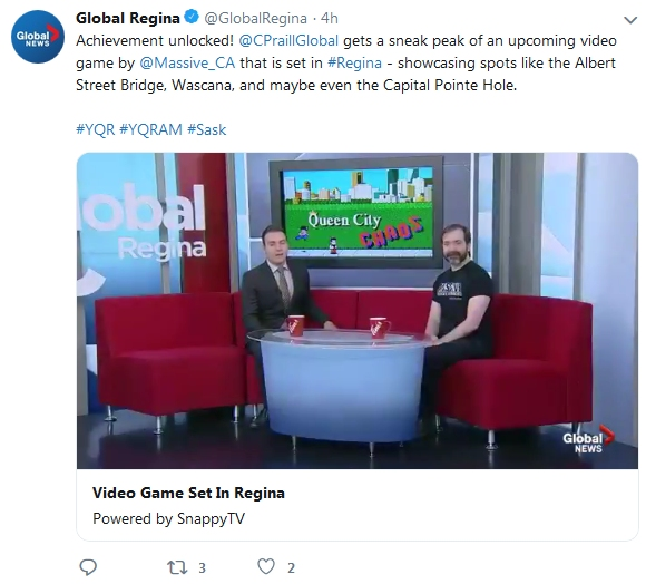 Massive Corporation CEO Kai Hutchence with cohost Colton Praill on Global Morning May 27 2019