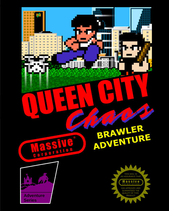 Queen City Chaos NES marketing/cartridge art homage