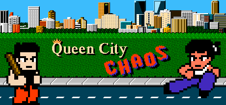 A wide version of the Queen City Chaos title screen showing the Regina skyline and main characters