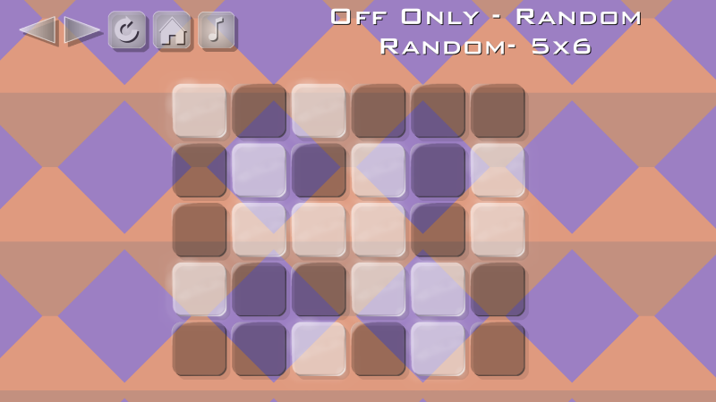 Brandins Buttons Puzzle Game - Off Only Random 5x6 mode.